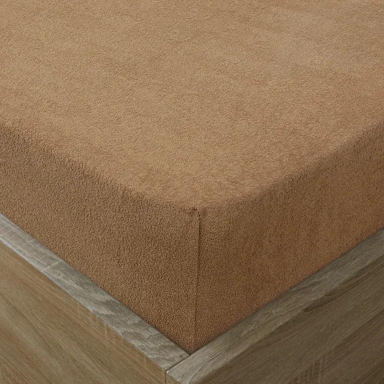 Goldea cearceafuri de pat din terry cu elastic - maro deschis 90 x 200 cm