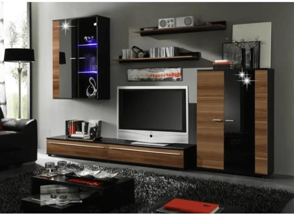 Ansamblu living, cu iluminare LED, prună/negru extra lucios HG, CANES NEW