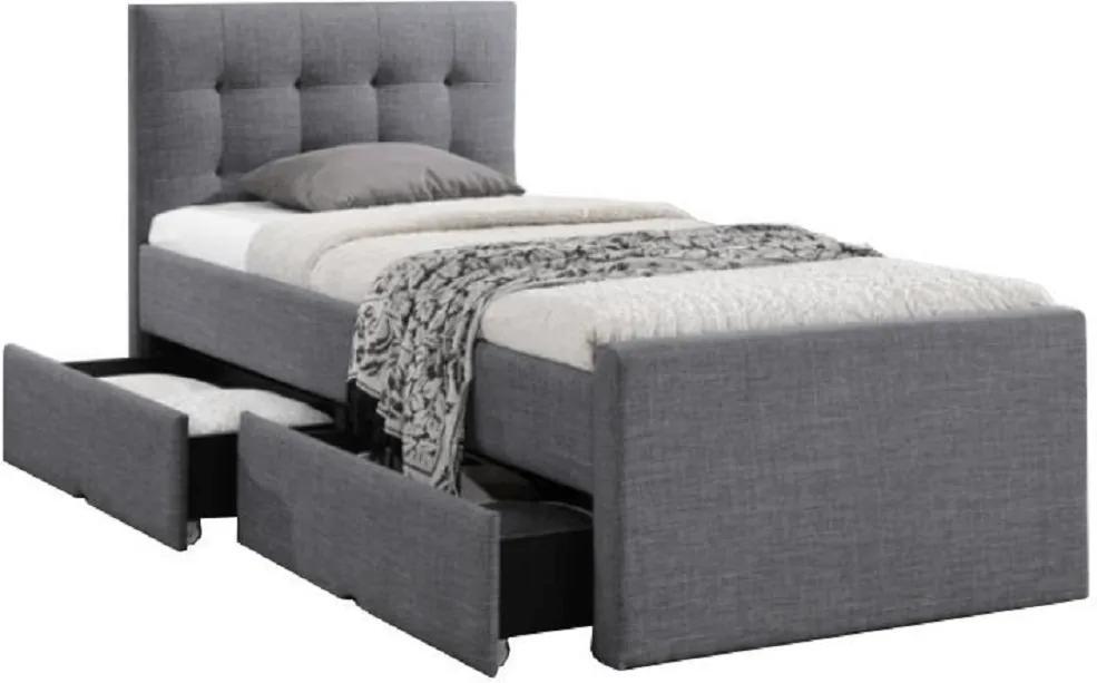 Pat modern, material textil gri, 90x200, VISKA NEW
