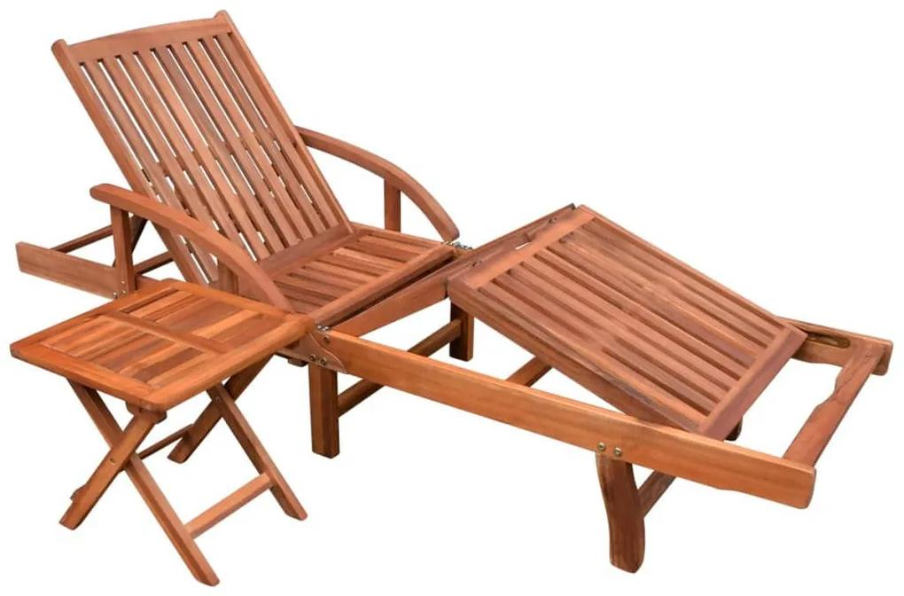 42594 vidaXL Șezlong de plajă cu masă, lemn masiv de acacia