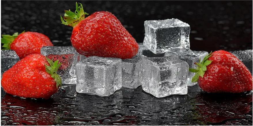 Imagine de sticlă Capsuni cu gheață