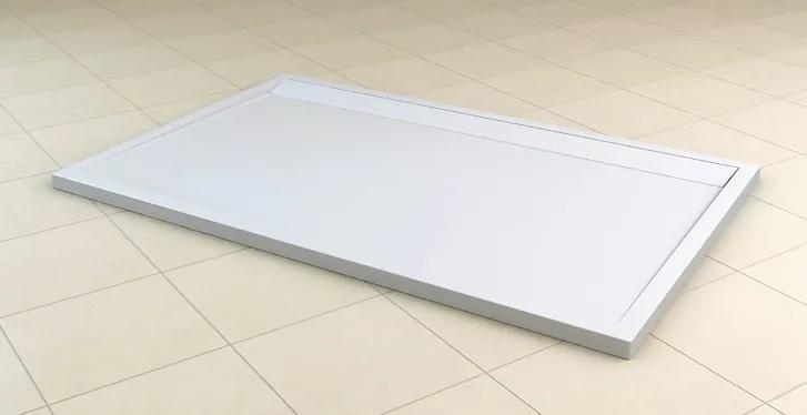 Cadita de dus dreptunghiulara SanSwiss ILA WIA, 90x120cm slim, marmura sintetica, alb