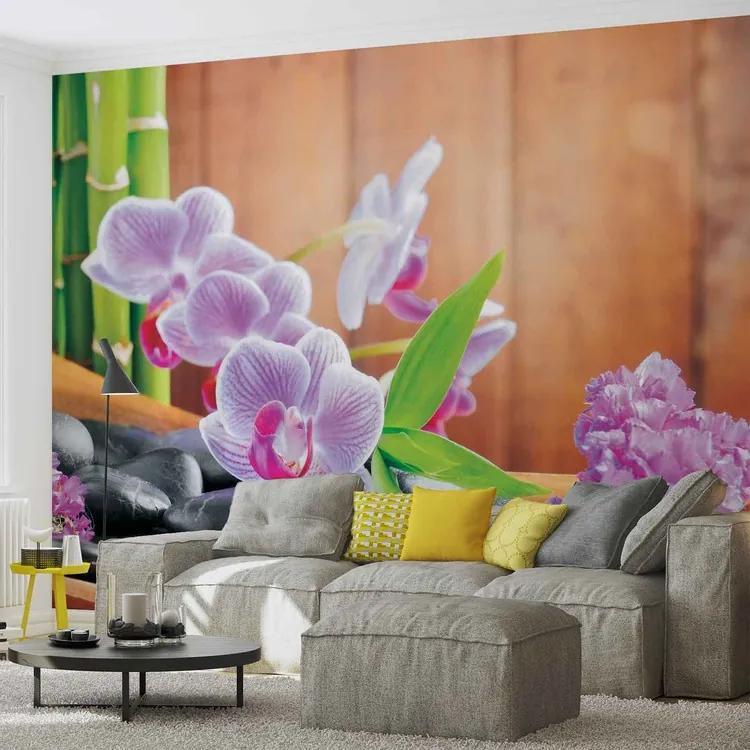 Flowers Orchids Zen Fototapet, (152.5 x 104 cm)