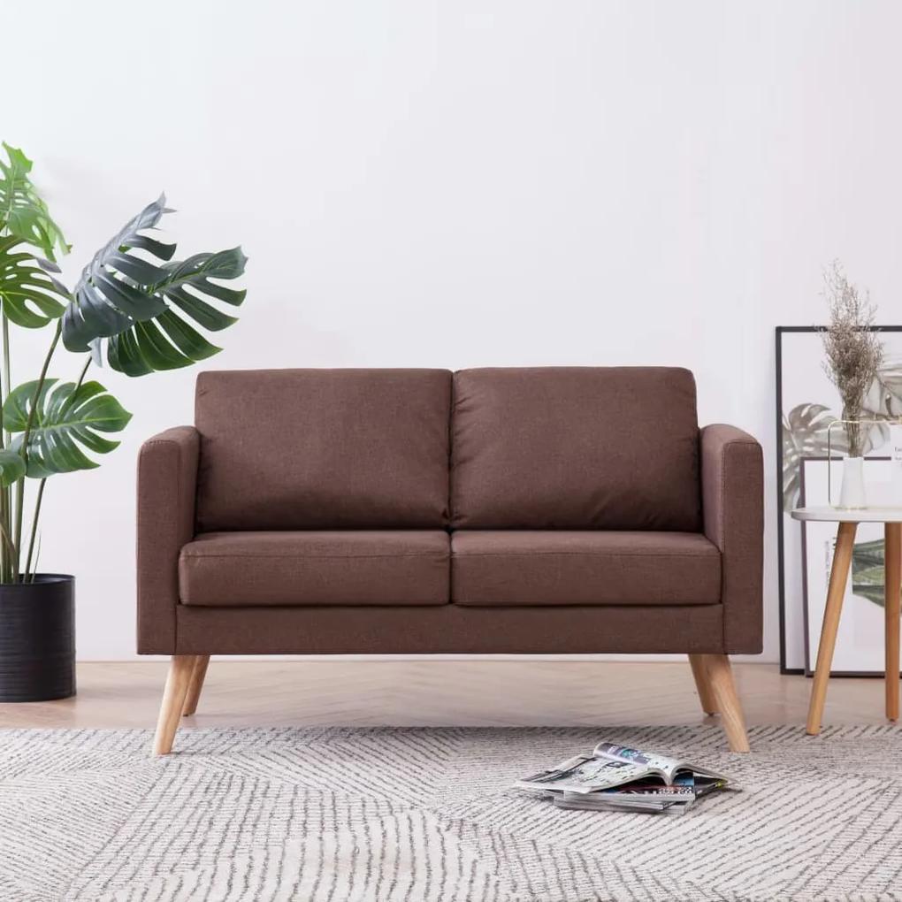 Canapea cu 2 locuri, maro, material textil