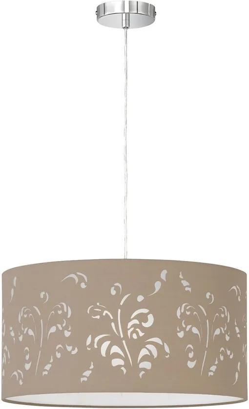Lustra tip pendul Flora IV tesatura/fier, maro deschis, diametru 50 cm