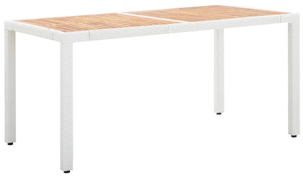 45989 vidaXL Masă grădină, alb, 150x90x75 cm, poliratan și lemn de acacia