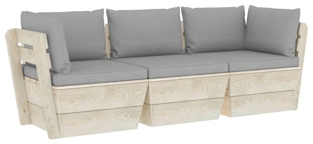 3063397 vidaXL Canapea grădină din paleți cu perne, 3 locuri, lemn de molid