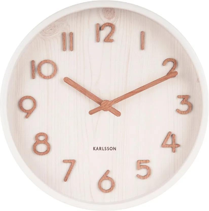 Ceas de perete din lemn de tei Karlsson Pure Small, alb, ø 22 cm