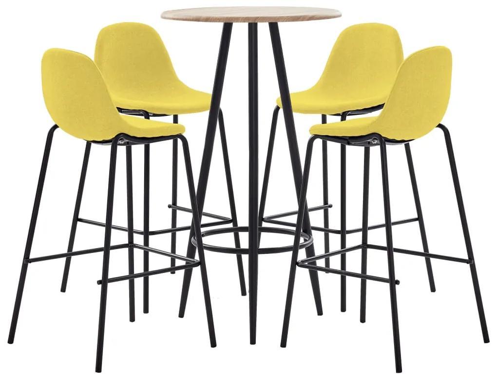 279847 vidaXL Set mobilier de bar, 5 piese, galben, material textil
