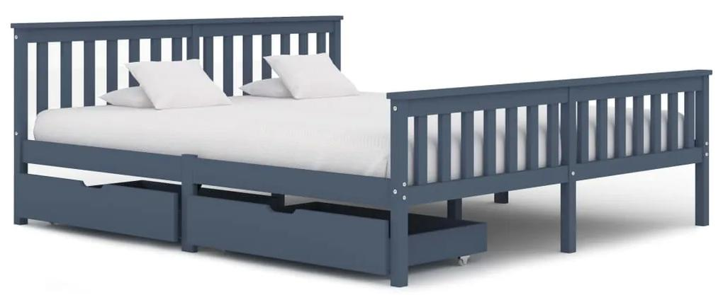 3060707 vidaXL Cadru de pat cu 2 sertare, gri, 180 x 200 cm, lemn masiv pin