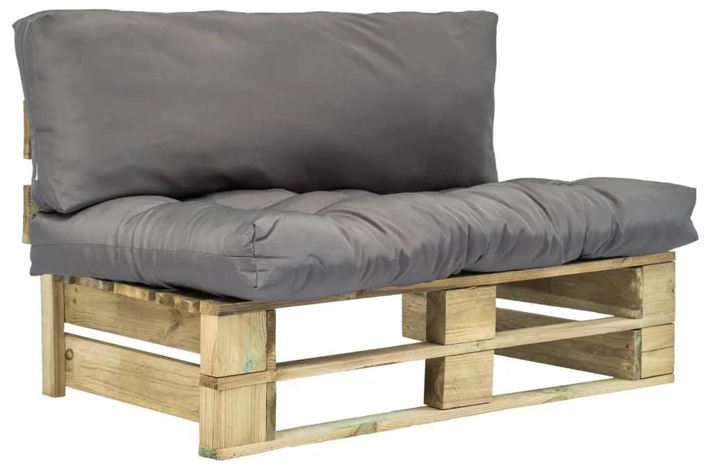 275285 vidaXL Canapea de grădină din paleți cu perne gri, lemn de pin