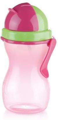 Sticlă de copii Tescoma BAMBINI, cu pai, roz, 300ml
