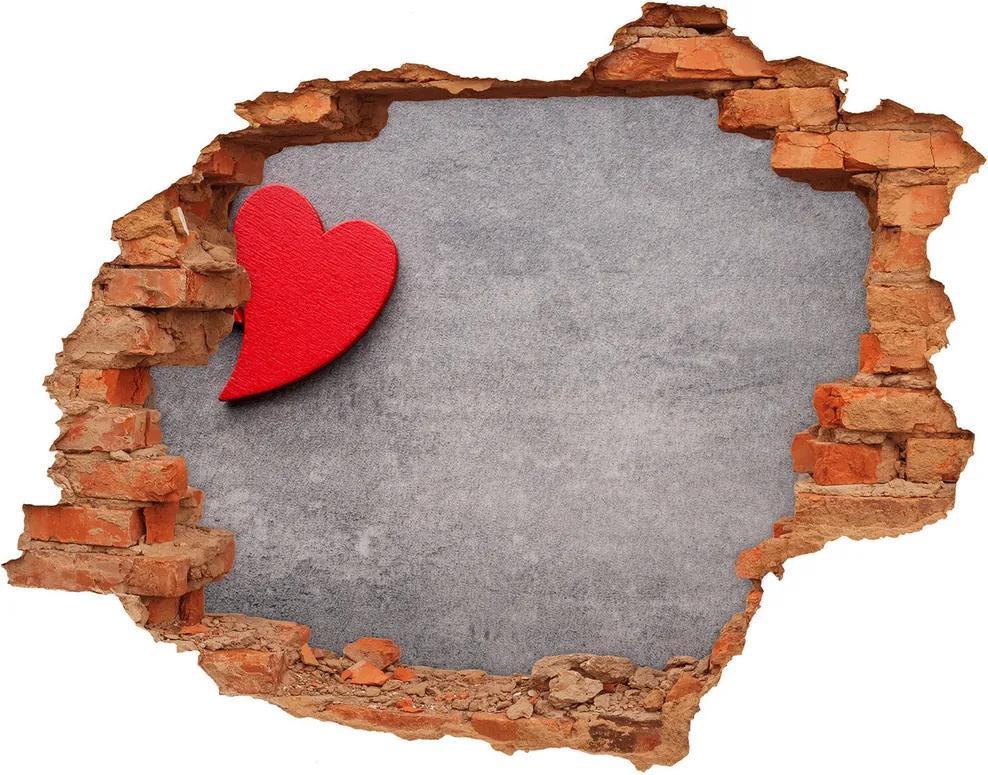 Autocolant 3D gaura cu priveliște Inimi roșii
