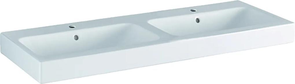 Lavoar dublu Geberit iCon 120x48.5cm, montare pe mobilier, alb