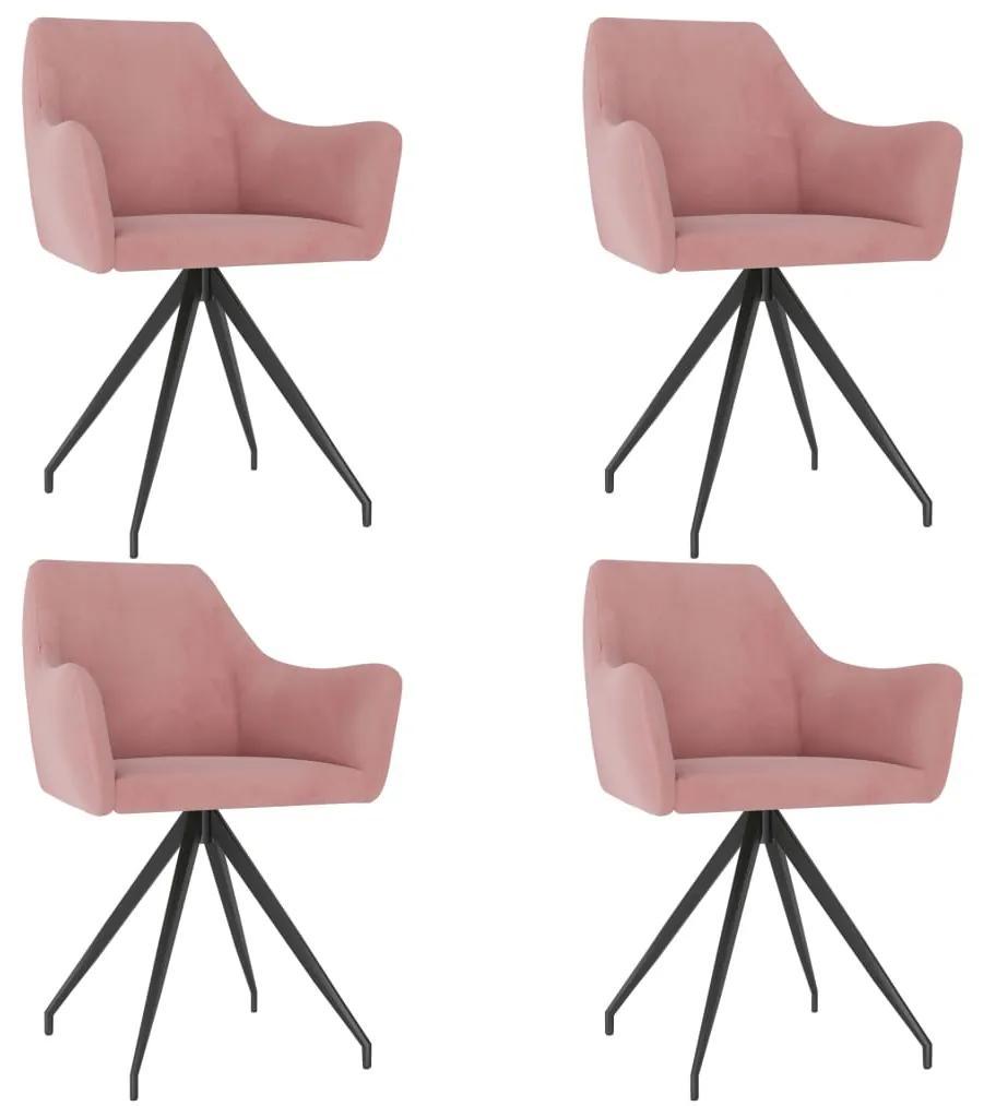 3058045 vidaXL Scaune de bucătărie, 4 buc., roz, catifea