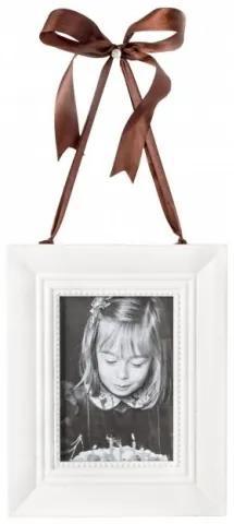Rama foto decorativa din lemn de brad si MDF Vit Alb, 19 x 24 cm