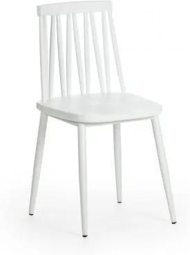 Scaun din plastic, cu picioare metalice Helen Alb, l43xA46xH81 cm