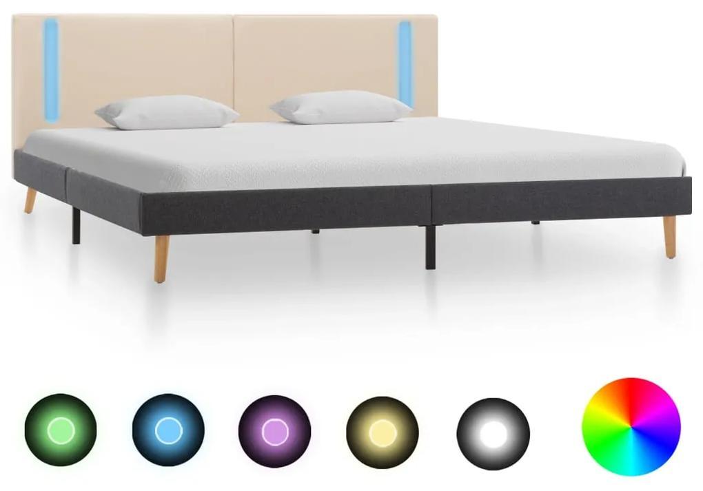 286774 vidaXL Cadru pat cu LED-uri, crem și gri închis, 180 x 200 cm, textil
