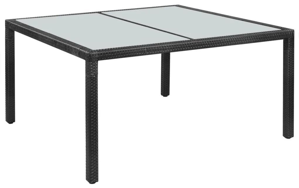42563 vidaXL Masă de grădină, negru, 150 x 90 x 75 cm, poliratan