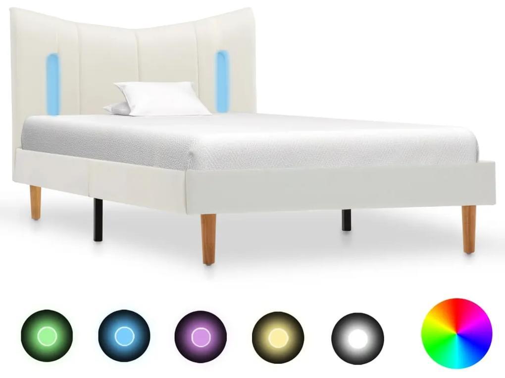 288529 vidaXL Cadru de pat cu LED, alb, 90 x 200 cm, piele ecologică