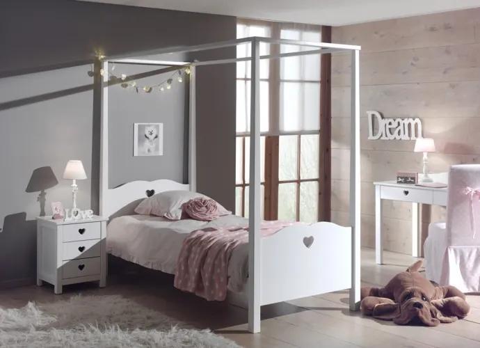 Set Mobila dormitor din lemn de pin si MDF, pentru copii 3 piese Amori Alb, 200 x 90 cm