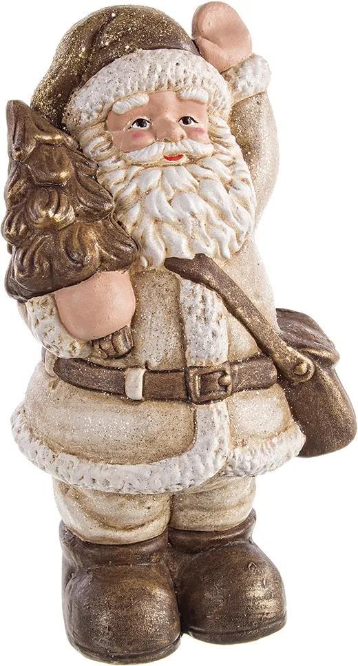 Figurina Mos Craciun ceramica maro crem 14x23h