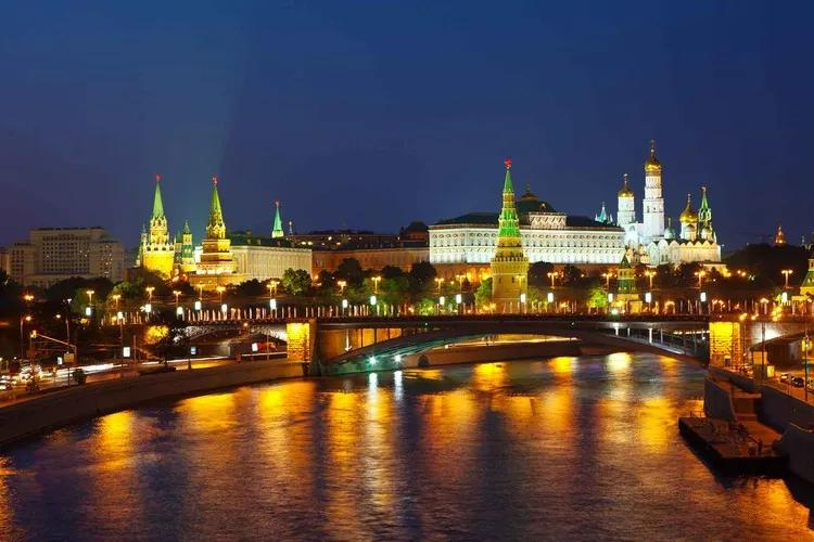 City Moscow River Bridge Skyline Night Fototapet, (368 x 254 cm)