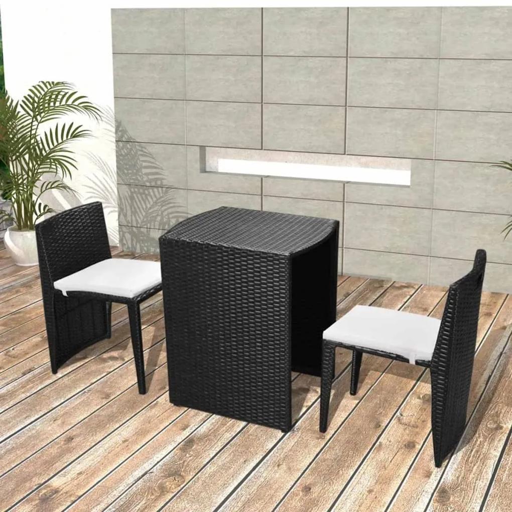 42882 vidaXL Set mobilier bistro cu perne, 3 piese, negru, poliratan