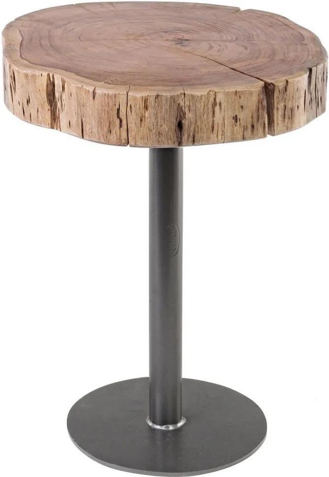 Masuta cafea cu picior fier negru si blat lemn natur Benson Ø 42 cm x 50 h