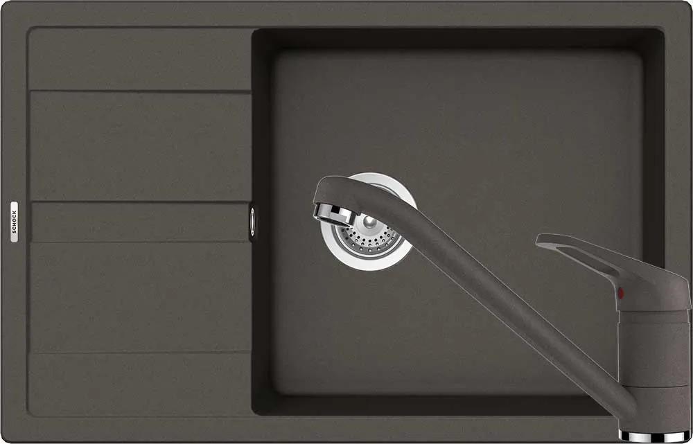 Set Chiuveta Schock Ronda D-100XL 780 x 500 mm si Baterie Schock Cosmo Asphalt Cristalite
