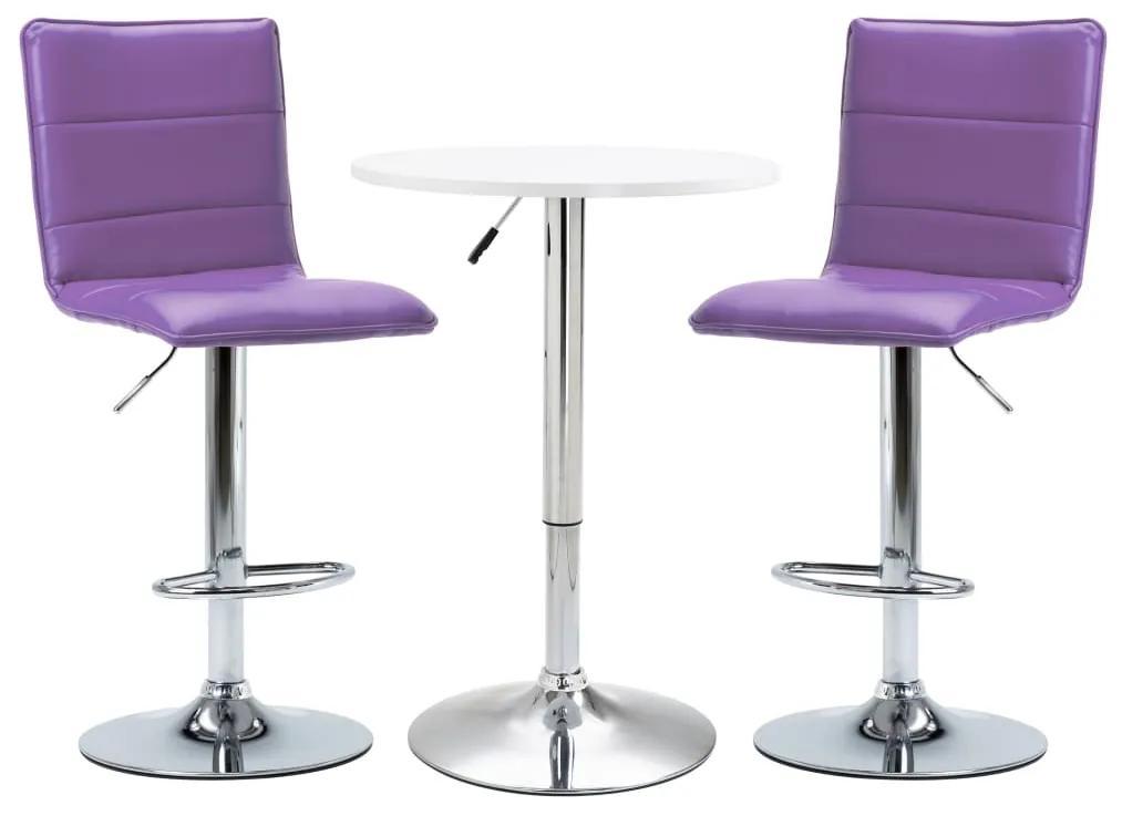 279642 vidaXL Set mobilier de bar, 3 piese, alb, piele ecologică