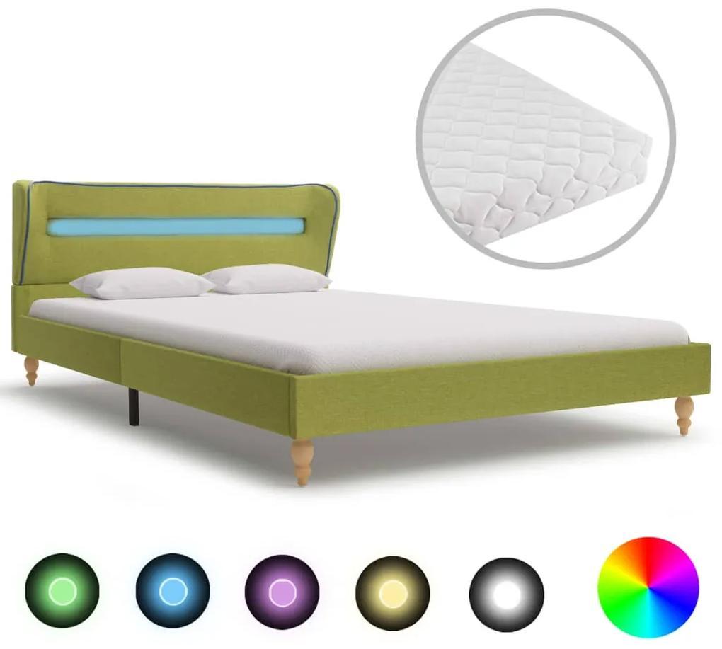 278370 vidaXL Pat cu LED și saltea, verde, 140 x 200 cm, material textil