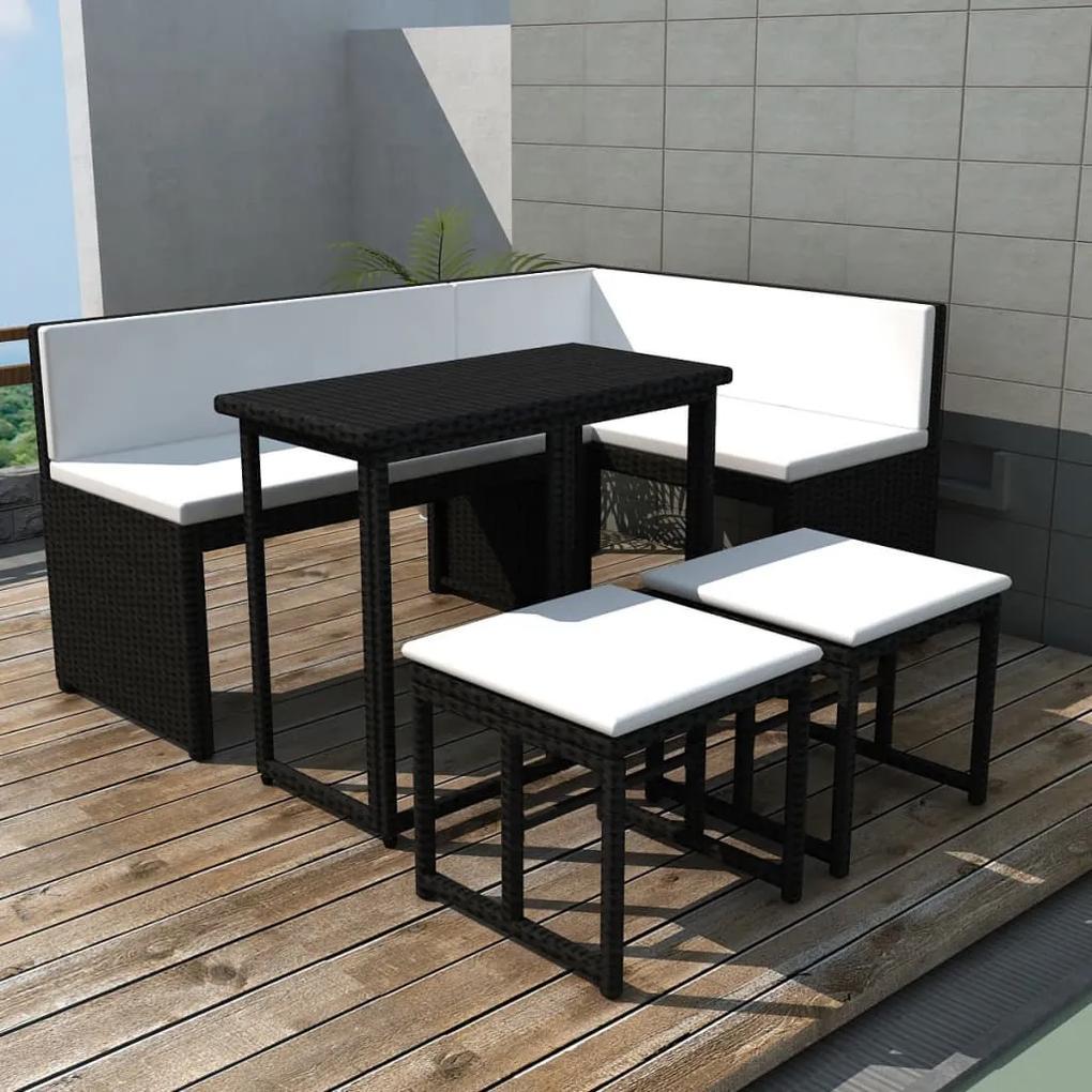 42880 vidaXL Set mobilier de exterior, 5 piese, negru, oțel și poliratan