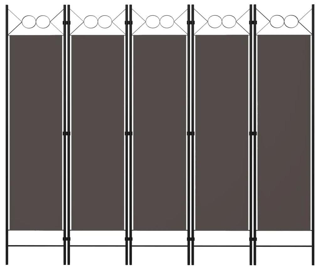 320709 vidaXL Paravan de cameră cu 5 panouri, antracit, 200 x 180 cm
