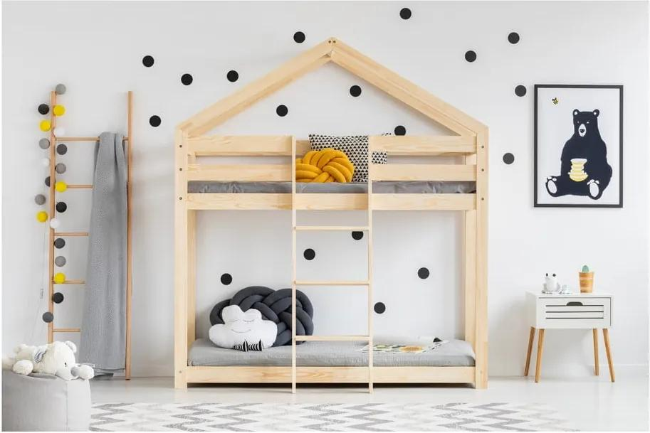 Cadru pat supraetajat din lemn de pin, în formă de căsuță Adeko Mila DMP, 80 x 180 cm