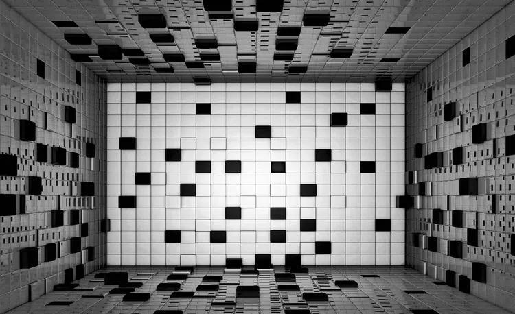Modern Abstract Squares Black White Fototapet, (254 x 184 cm)