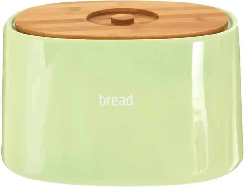 Recipient pentru pâine cu capac din lemn de bambus Premier Housewares Fletcher, 7,7 l, verde