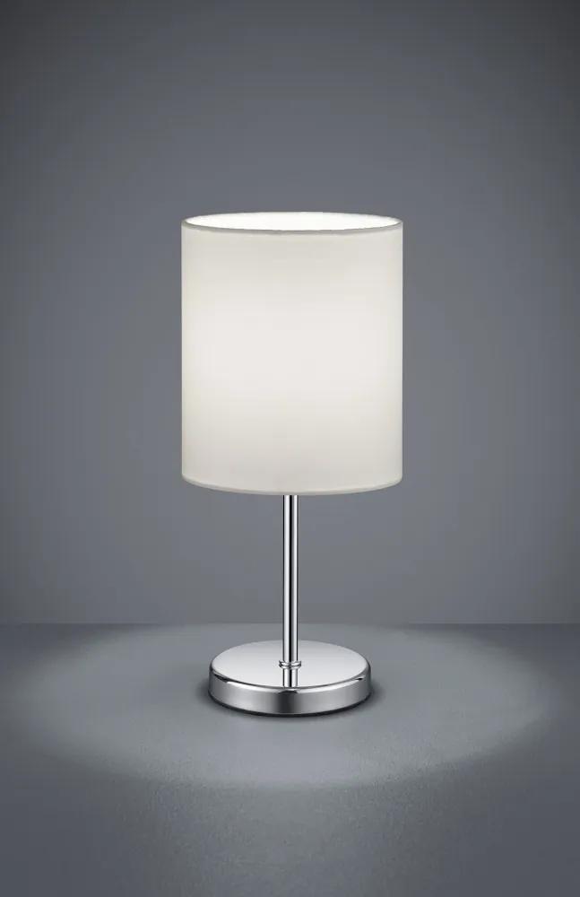 Trio JERRY R50491001 Lampa de masa de noapte crom alb excl. 1 x E14, max. 40W H:28,5cm, D:13cm