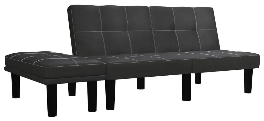 284759 vidaXL Canapea cu 2 locuri, negru, piele ecologică