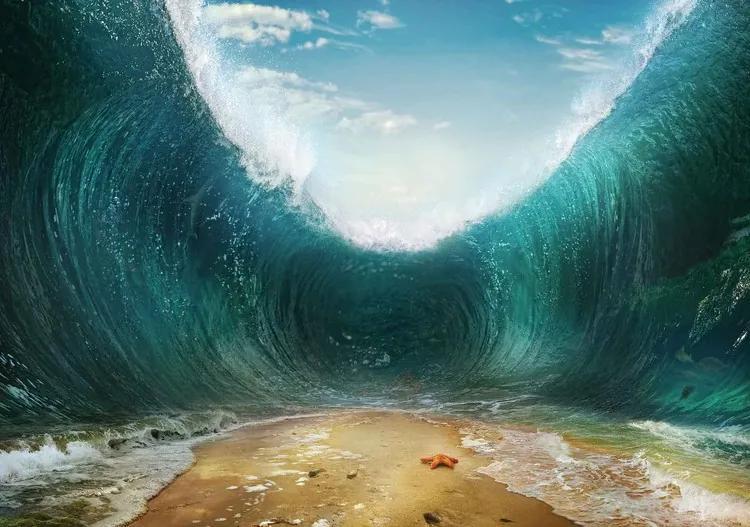 Beach Waves Sea Fototapet, (368 x 254 cm)
