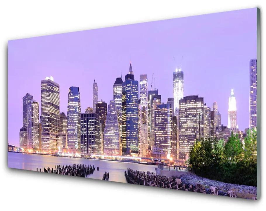 Tablou pe sticla acrilica Oraș Case Violet Galben Verde