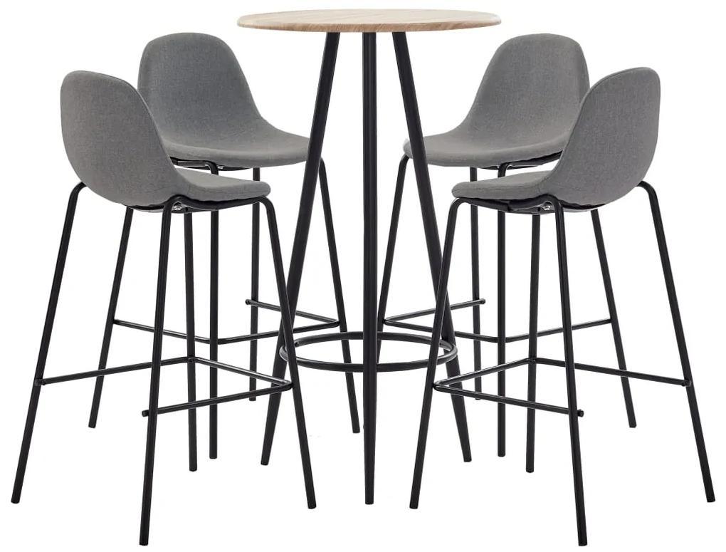 279849 vidaXL Set mobilier de bar, 5 piese, gri taupe, material textil