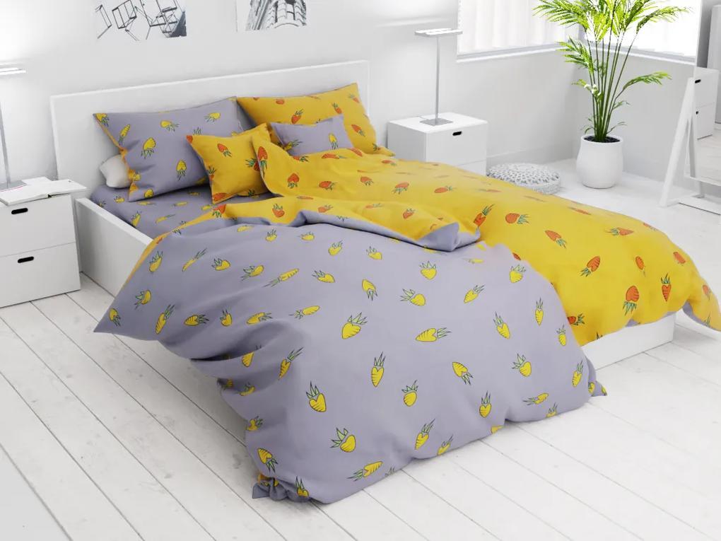 Lenjerie de pat din bumbac cu motiv Karot, galbenă din 7 piese