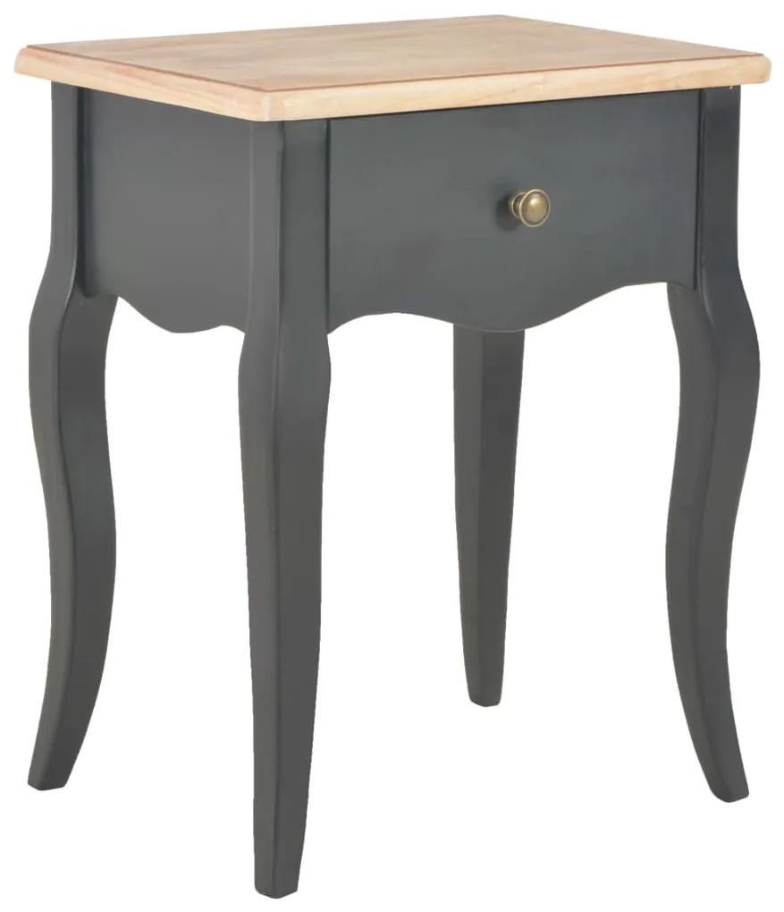 280008 vidaXL Noptieră, negru și maro, 40x30x50 cm, lemn masiv de pin