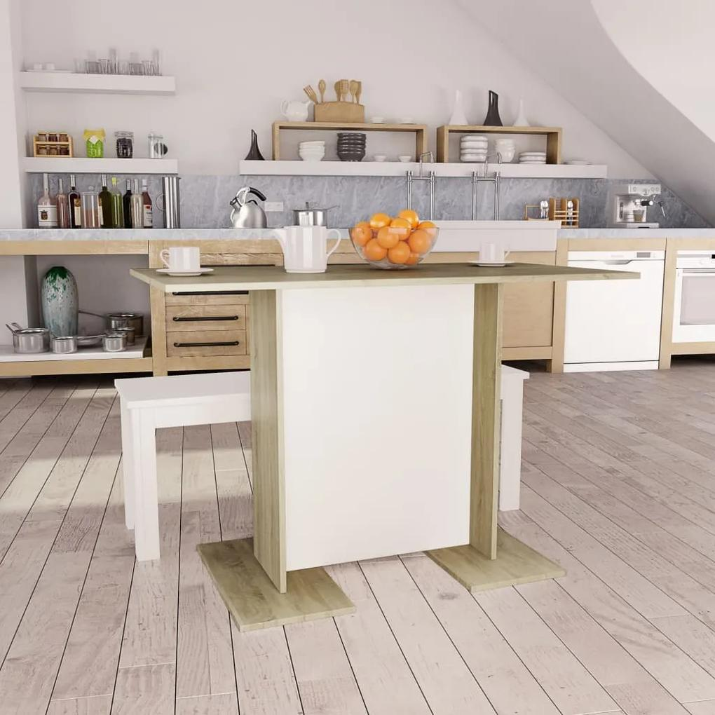 800248 vidaXL Masă de bucătărie, alb & stejar Sonoma, 110 x 60 x 75 cm, PAL
