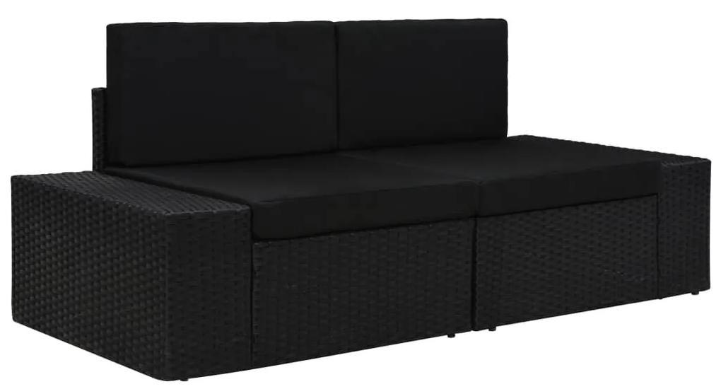 49505 vidaXL Canapea modulară cu 2 locuri, negru, poliratan