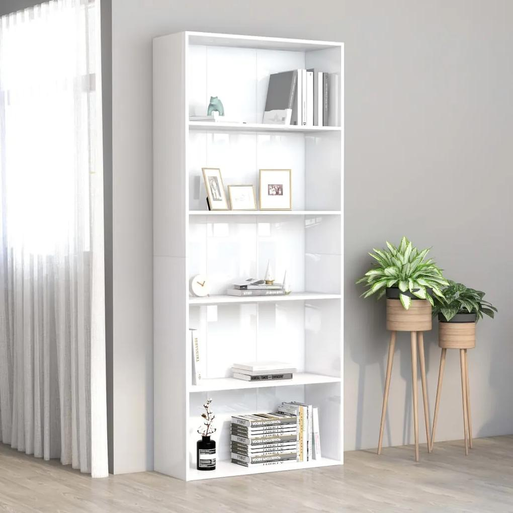 801032 vidaXL Bibliotecă cu 5 rafturi, alb extralucios, 80x30x189 cm, PAL