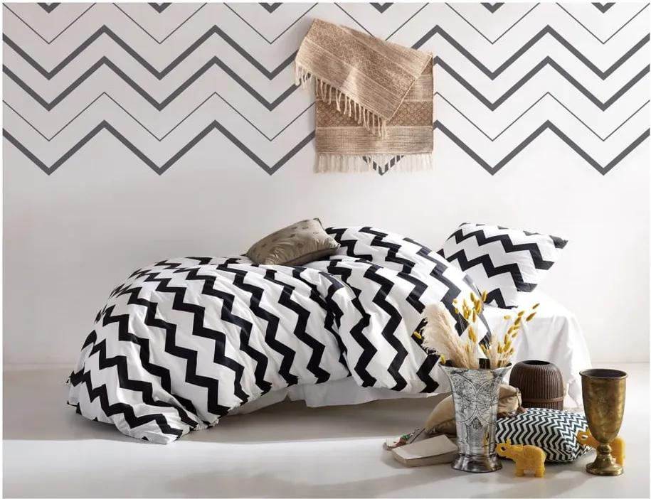 Lenjerie de pat și cearșaf Small ZigZag, 140 x 200 cm, alb-negru