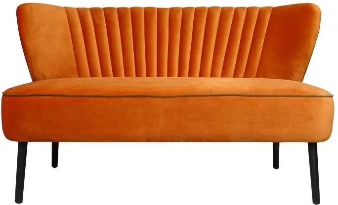 Canapea portocalie din catifea pentru 2 persoane Twiggy