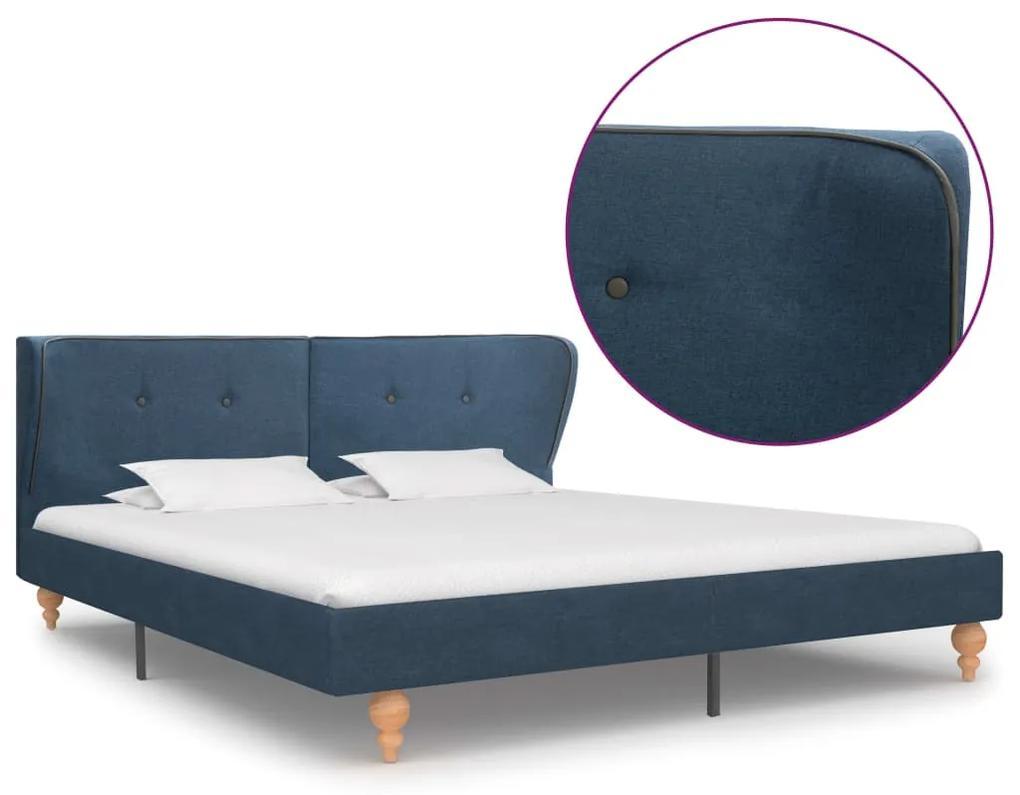 280580 vidaXL Cadru de pat, albastru, 160 x 200 cm, material textil